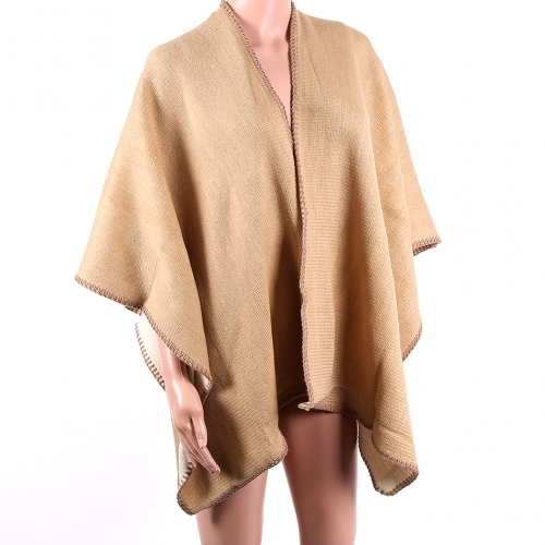 Poncho cape finition ourlet grosse couture 140x100 cm 28A10 -