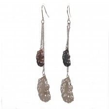 Boucles d'oreilles ultralight,Duo de Plumes Filantes,env.7cm long. - 15A06