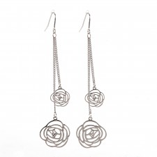 Boucles d'oreilles ultralight,Duo de Roses Filantes,env.8cm long. - 15A06