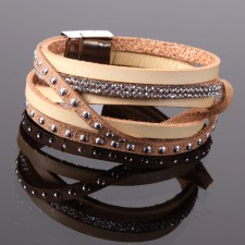 Bracelet Fashion Style,multi rangs,déco strass et tête de clous - 19A09