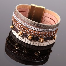 Bracelet Passion Style,multi rangs avec déco strass et text - 19A09