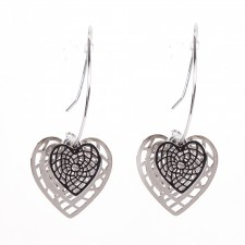 Boucles d'oreilles ultralight,For Lovers,coeurs filigrane,long.env.5cm - 24A09