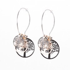 Boucles d'oreilles ultralight,Arbres de Vies Tricolores,long.env.4.5cm - 24A09