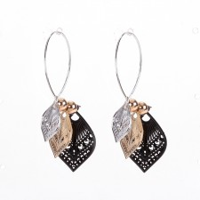 Boucles d'oreilles ultralight,Feuilles Filigranes,Tricolores,long.env.5cm - 24A09