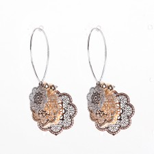 Boucles d'oreilles ultralight,Rosaces Filigrane,Tricolores,long.env.5cm - 24A09