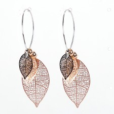Boucles d'oreilles ultralight,Empreintes Foliaires,Tricolores,long.env.5cm - 24A09