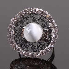 Bague filigranne ajustable,Couronne à Strass - 18A10