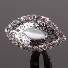 Bague filigranne ajustable,Oeil à Strass - 18A10