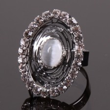 Bague filigranne ajustable,Ellipse  à Strass - 18A10