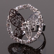Bague filigranne ajustable,Papillon à Strass - 18A10
